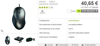 Gaming-Maus Logitech G500 bei voelkner mit Gutschein für 32,88 Euro