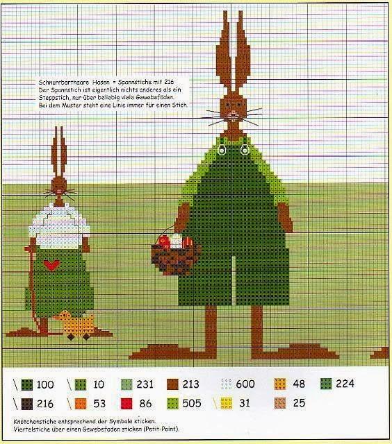 Вышивка пасхальных зайцев нет