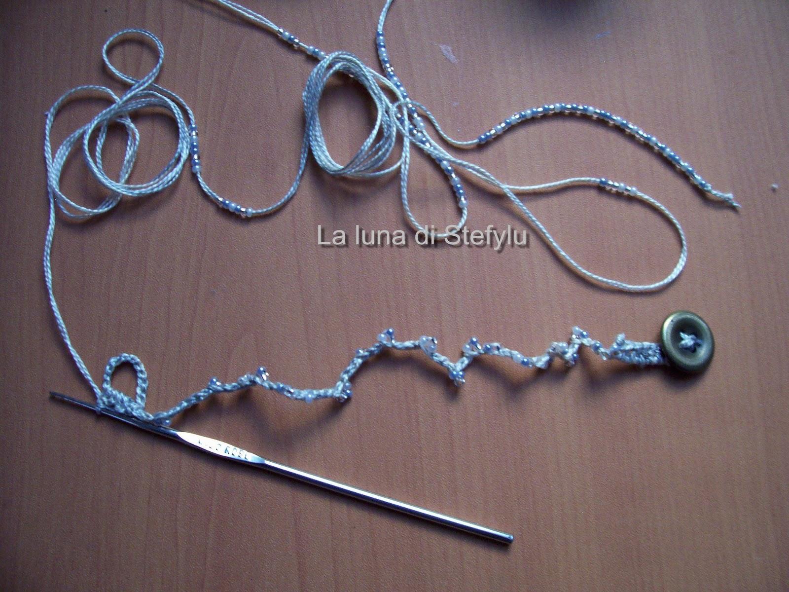 abbastanza La luna di Stefylu: Tutorial:filo, perline e uncinetto = braccialetti! JG57