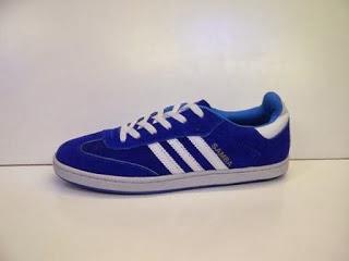 Sepatu Adidas Samba biru list putih