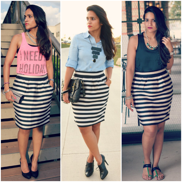 Three Ways To Wear A Striped Skirt, Tanvii.com