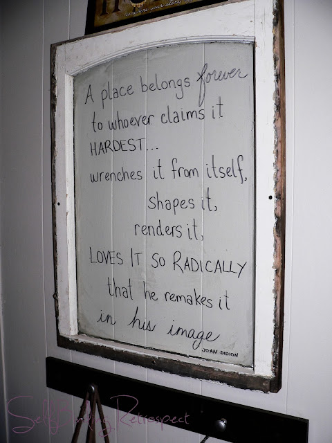 window, old, vintage, peeling paint, old window, diy, quote in window, joan didion