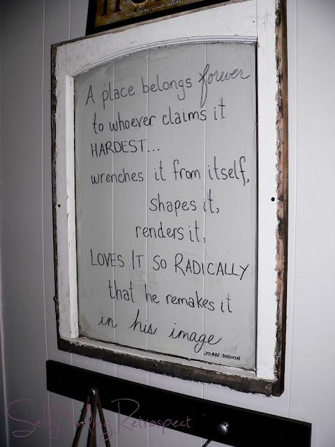 window, old, vintage, peeling paint, old window, diy, quote in window, joan didion