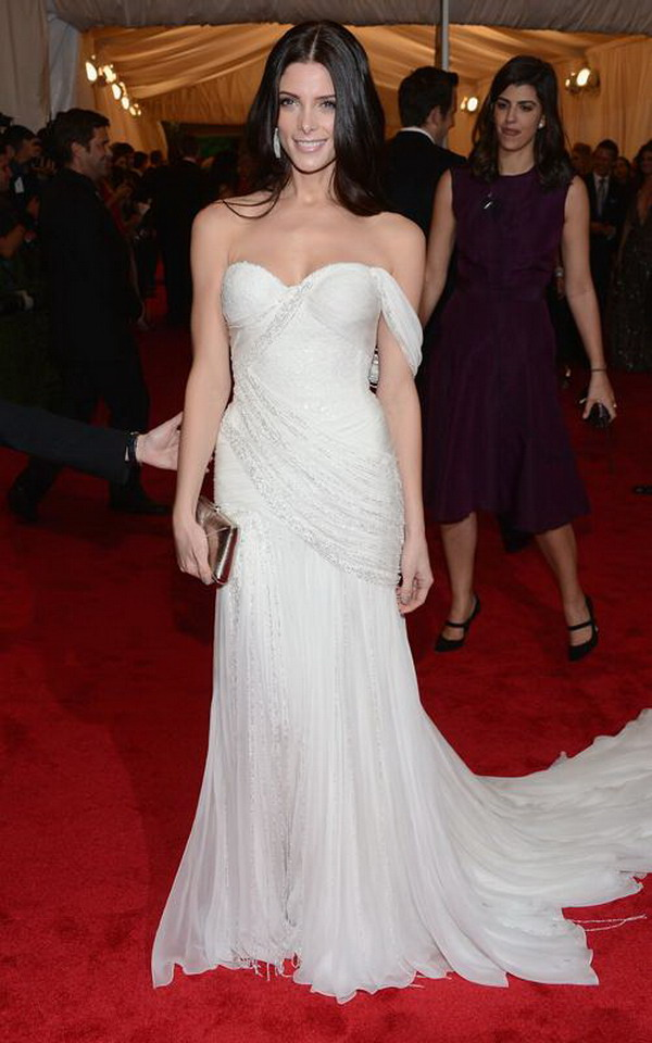Fashion in wedding ashley greene wear donna karan white for Donna karan wedding dresses
