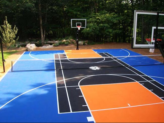 Basketball court dimensions photos sections for How much does a half court basketball court cost