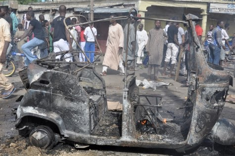 Photos: Scene of today's bomb blast in Maiduguri market5