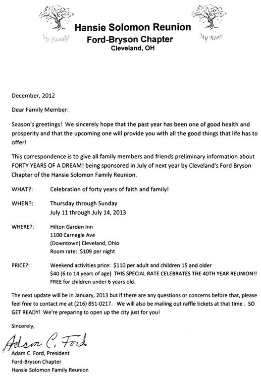 40th annual family reunion cleveland july 11 14 2013 seasons seasons greetings reunion information letter dec 2012 m4hsunfo
