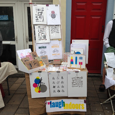 welaughindoors stall at The Frome Independent, July 2015