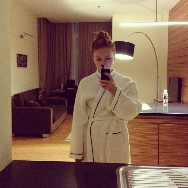 In a robe at Best Western Premier Dua Sentral