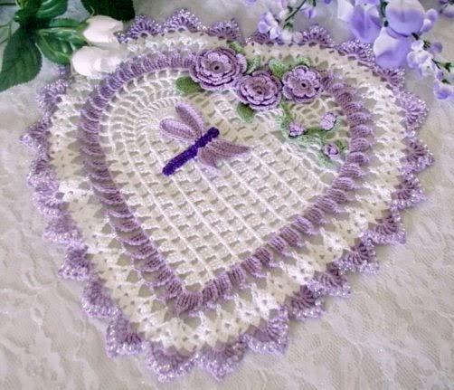 corações em croche em croche com receita