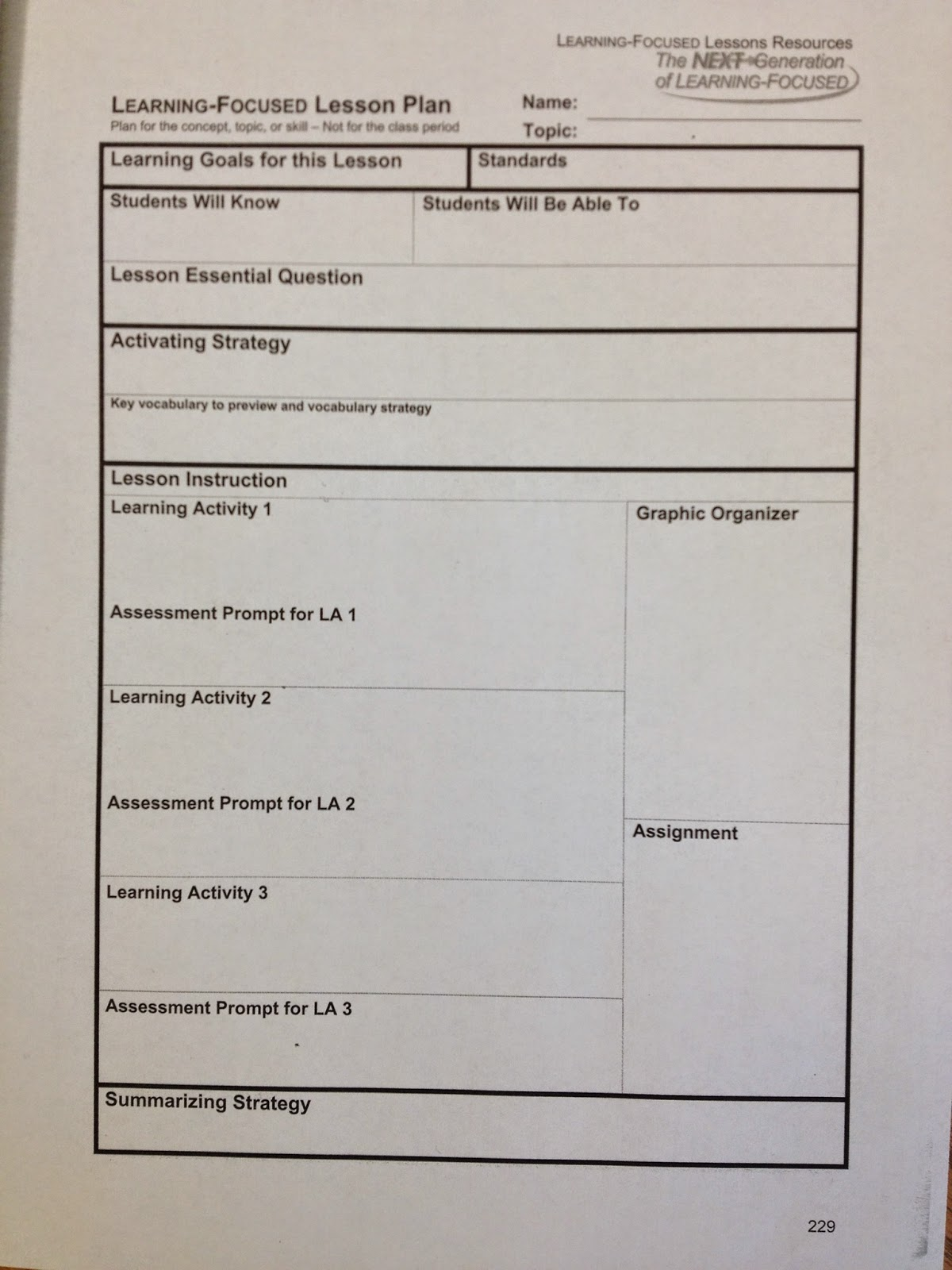 Learning Focused Lesson Plan Format Antaexpocoaching