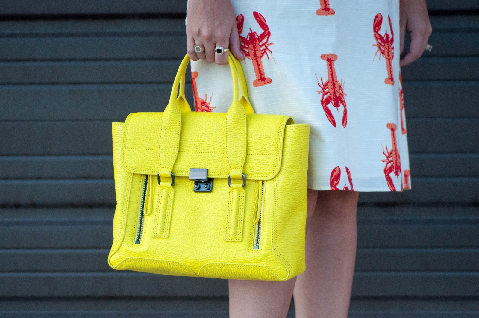 ootd, 3.1 phillip lim pashli satchel, 3.1 phillip lim handbag, yellow purse, lobster dress, ootd