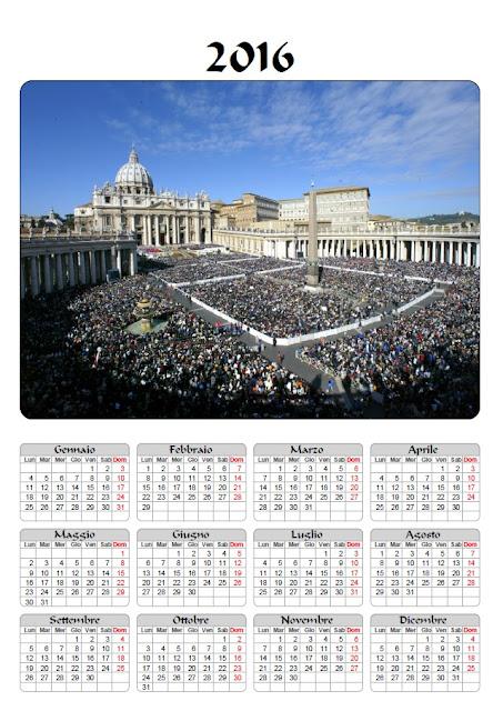 Calendario 2016 - Giubileo