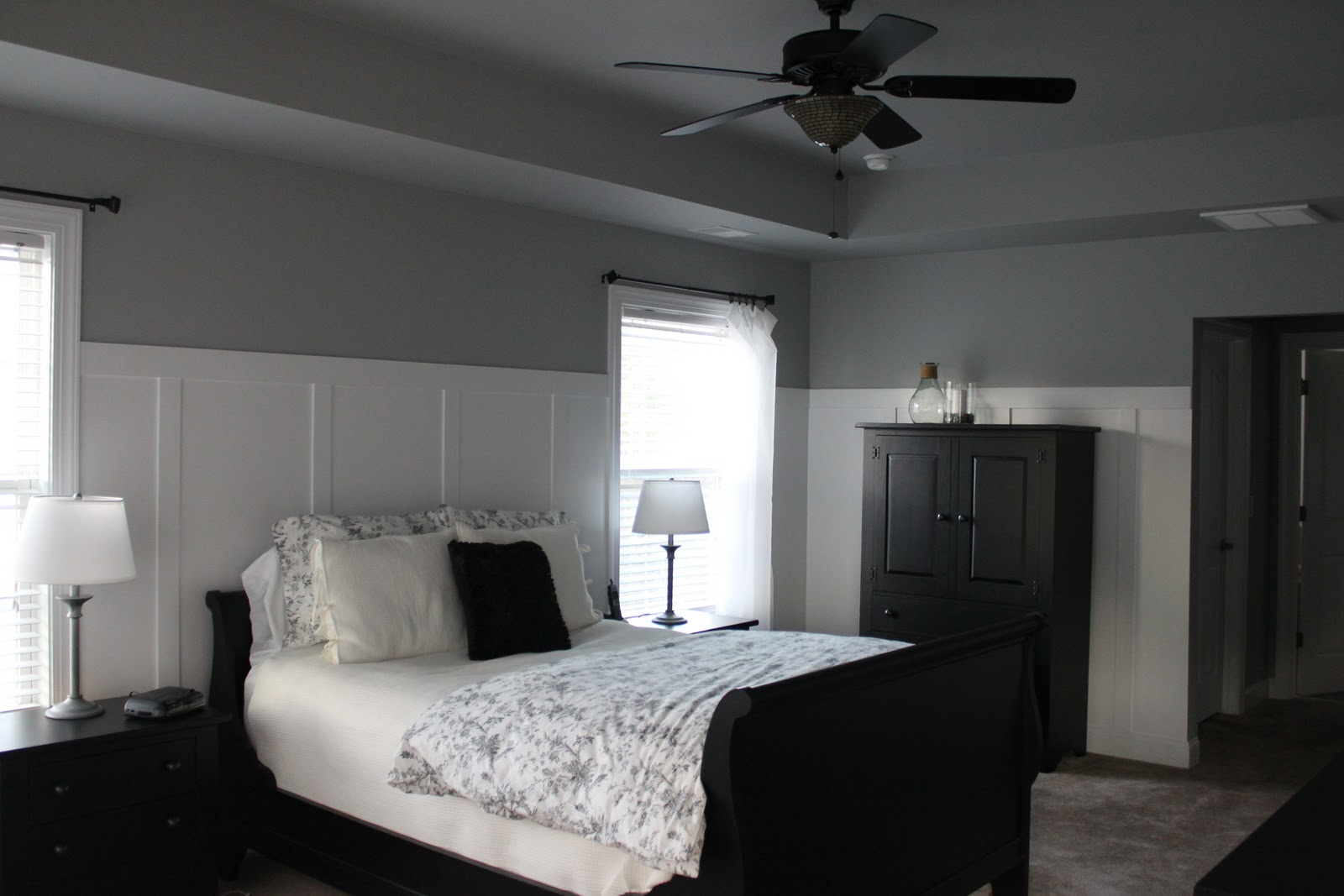 white walls grey ceiling bedroom Cents-able Spaces: Board & Batten Walls in MBR