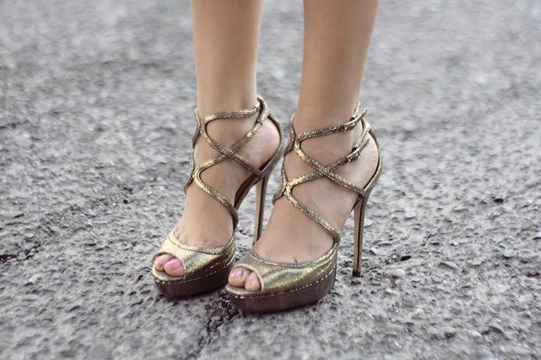 jimmy choo lizard golden heels