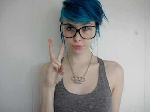 Many girls with geeky glasses
