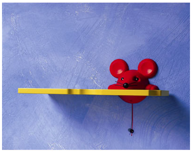 yellow shelf with red mouse