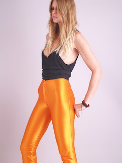 Vintage 1970's orangey-gold Bojeangles high waisted spandex legging pants.