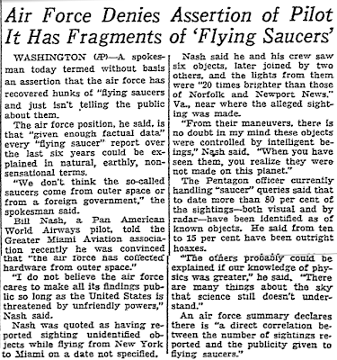Air Denies It Has Fragments of 'Flying Saucers' (UFOs)