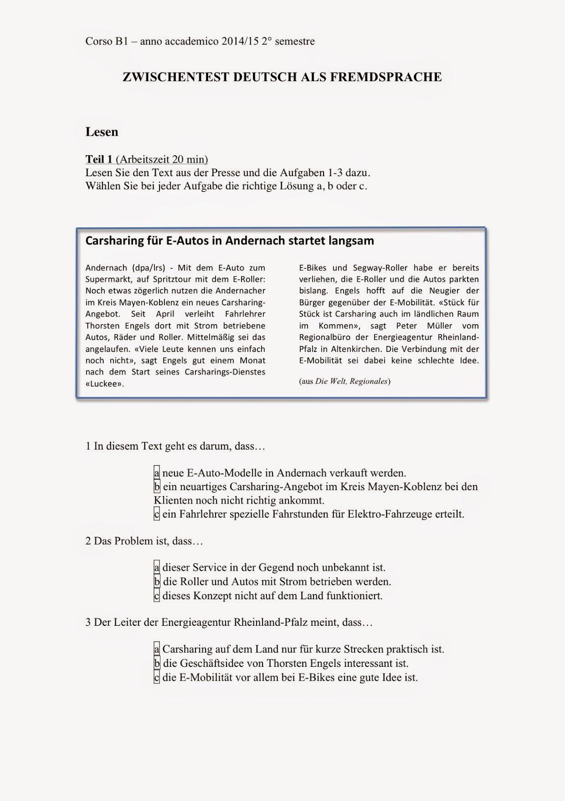 bungsmaterial aus dem unterricht - B1 Prufung Muster