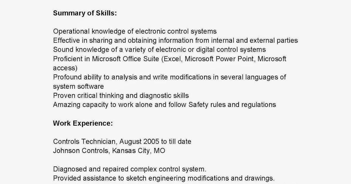 resume samples  controls technician resume sample