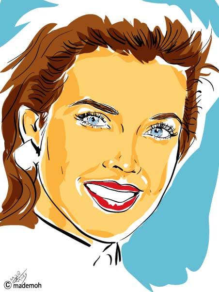 carol alt portrait dessin couleur aplat vectoriel comics star. Black Bedroom Furniture Sets. Home Design Ideas