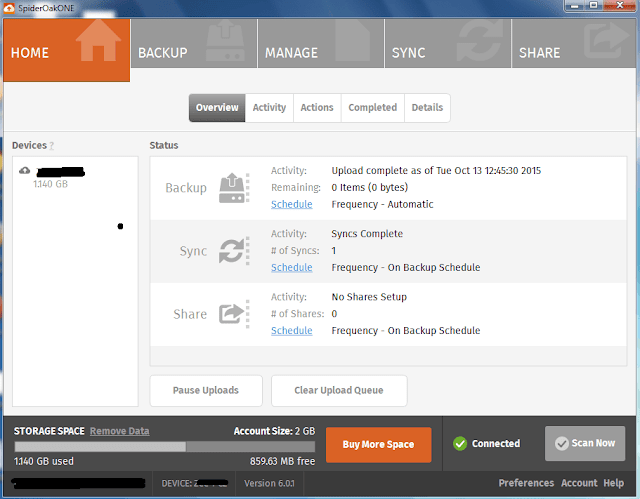 spideroak app backup photos files online free safely
