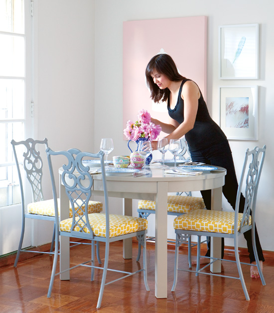 Home and garden one room two looks design by samantha pynn for Dual purpose dining room ideas
