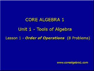 http://corealgebra1.com/Unit1.htm