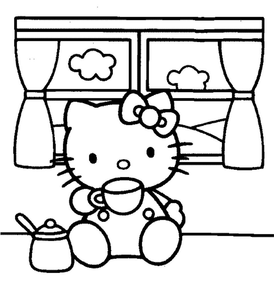 Hello kitty para colorear e imprimir