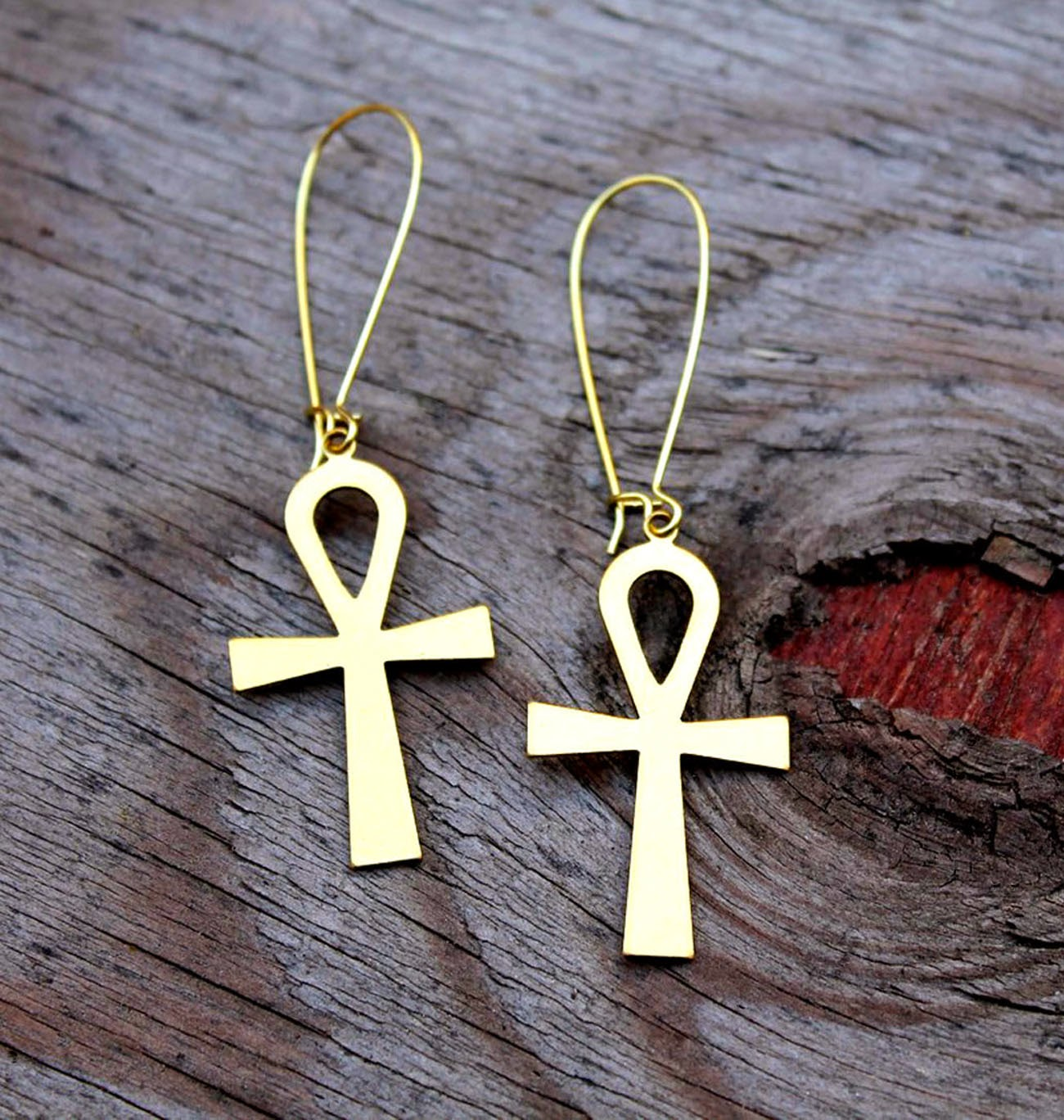 brass ankh earrings