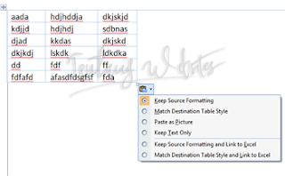 Cara copy paste tabel excel ke word