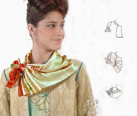 Как красиво завязать шелковый платок на шее пошагово