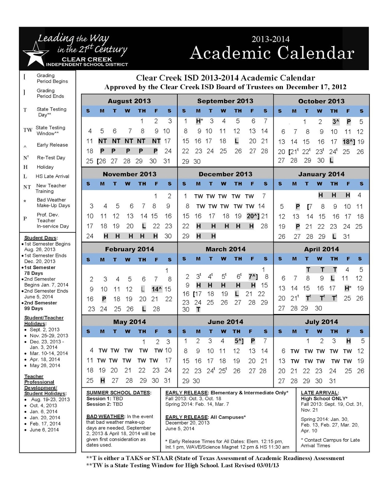 Crosby ISD Calendar 2013 2014