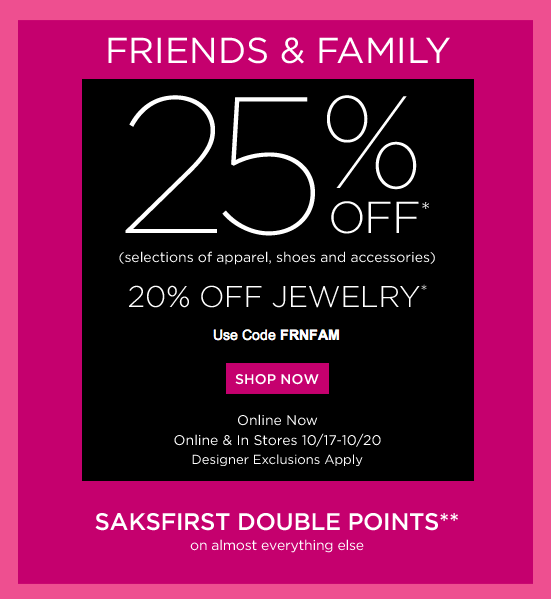 Past Saks Fifth Avenue Coupon Codes
