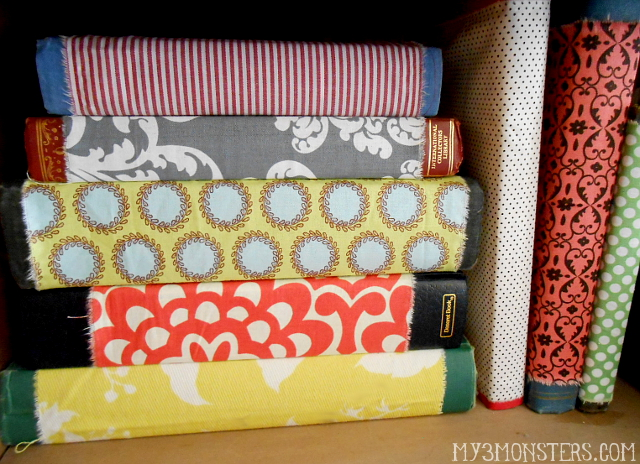 Fabric Covered Thrift Store Books at my3monsters.com