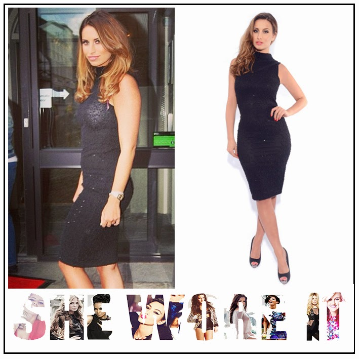 Black, Bodycon, Dress, Ferne Mccann, Ferne McCann For Lasula, High Neck, Lasula, Midi Dress, Sleeveless, The Only Way Is Essex, TOWIE,