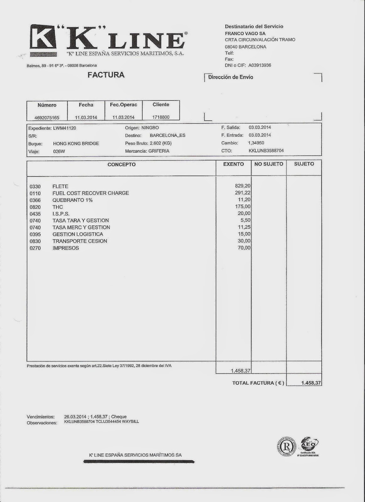Comercio internacional bill of lading for Comercio exteriro