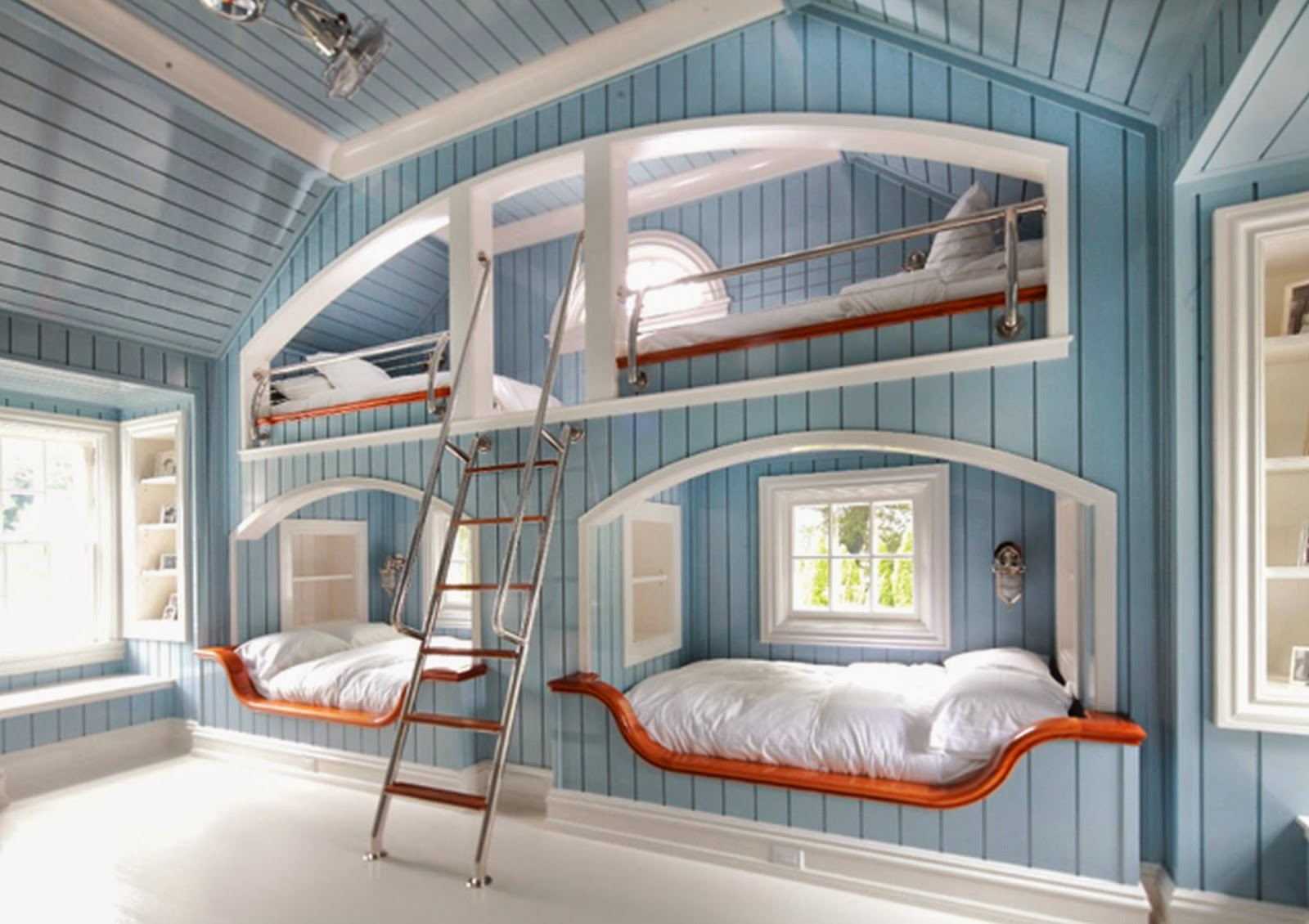 Luxury Blue Wooden Wall Paint Cool Teenage Girl Bedrooms With Unique Blue  Wooden Loft Bed And Comfortable White Mattress Complete With Soft White  Pillow ...