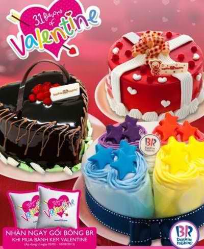 Tặng gối Baskin Robbins khi mua bánh kem Valentine, khuyến mãi ẩm thực, địa điểm ăn uống 365