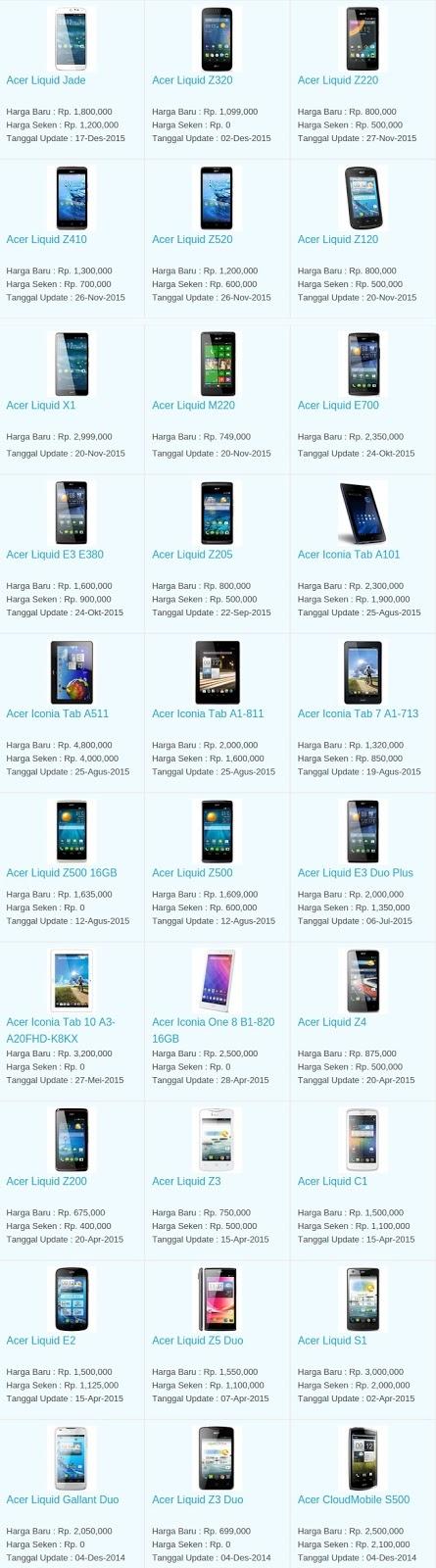 Daftar Harga Hp Acer Februari 2016
