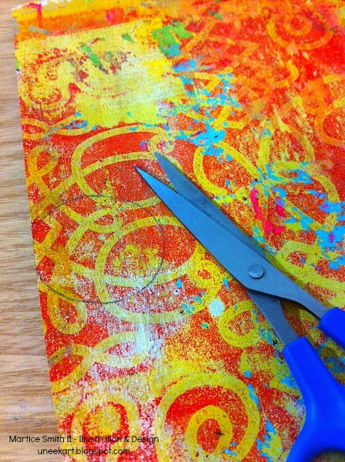example of gelli print; Brilliant Paper Clips tutorial by Martice Smith II