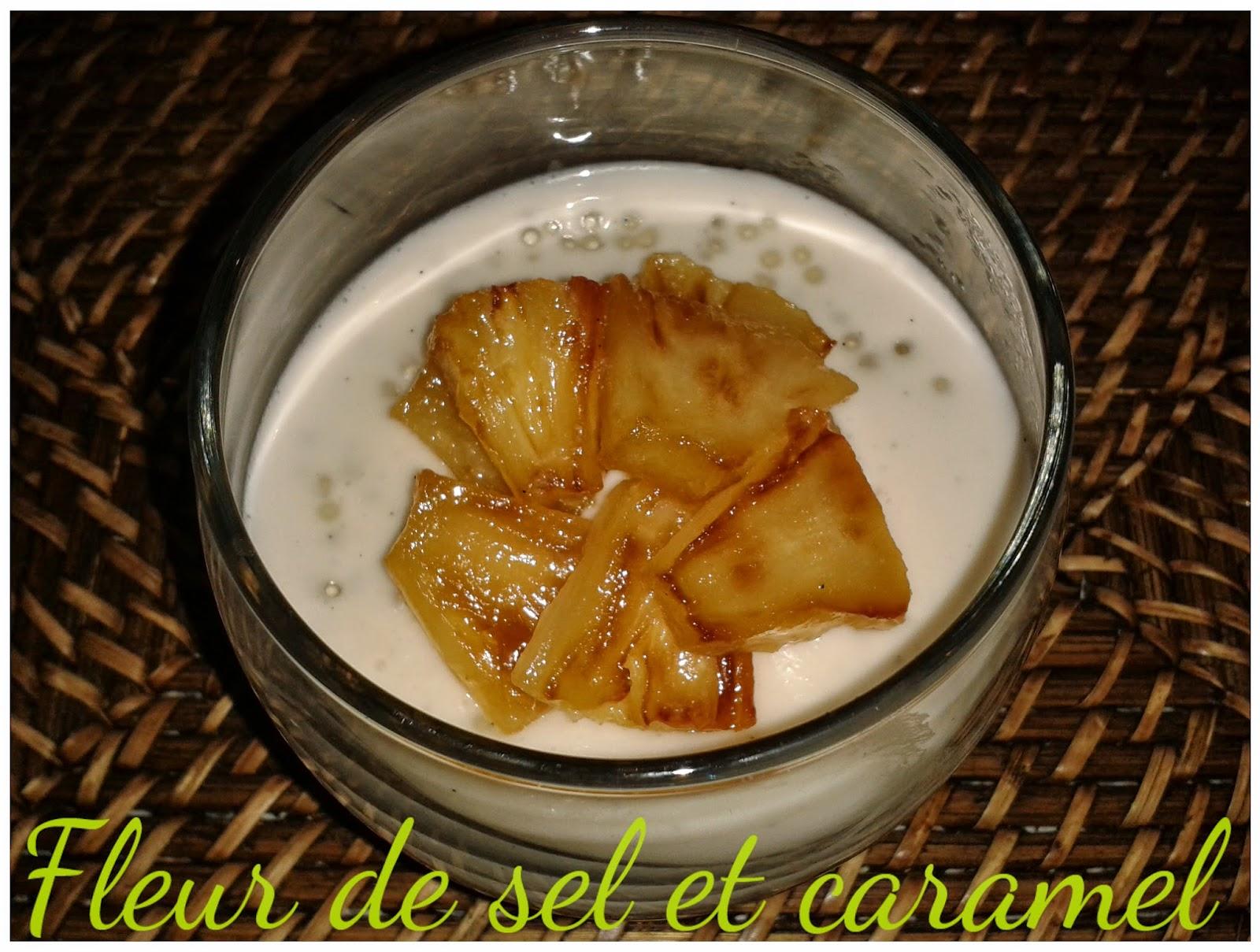 Verrines de perles du Japon aux ananas caramélisés