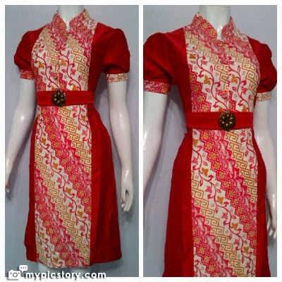 Dress Batik Modern Kombinasi Modis
