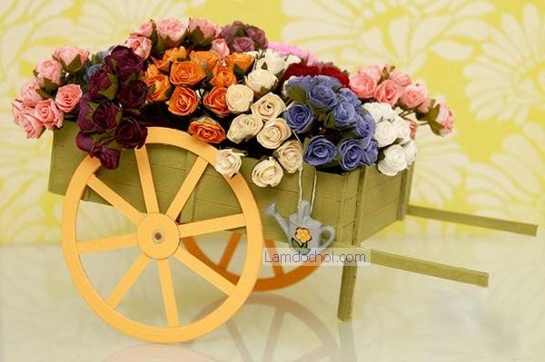 Trang Trí Tết Handmade Với Xe Hoa Giấy