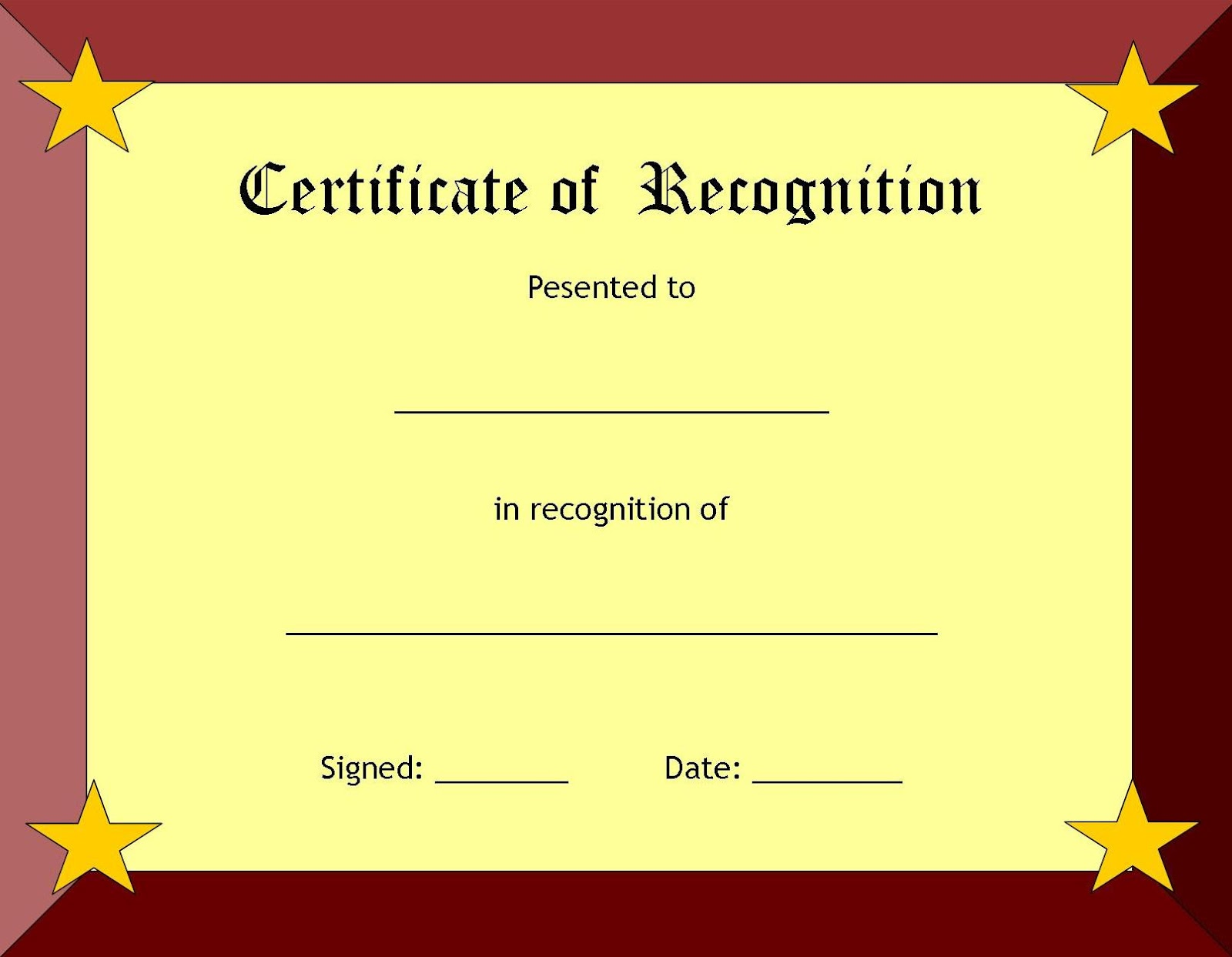 blank certificates borders