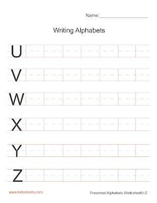 Writing Upper Case Alphabets U-Z, Writing Alphabets Worksheets