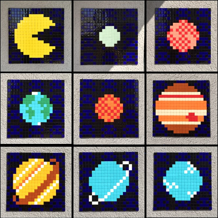 French artist Invader recently installed some of his iconic mosaic artwrosk at ESA establishments all over Europe and even on the International Space Station. The latest invasion took place at European Space Operation Centre in Darmstadt, Germany with the brilliant Pacman solar system. series.