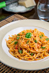 Roasted Red Pepper and Goat Cheese Alfredo Pasta