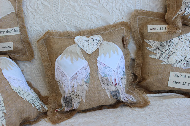 burlap and lace pillow with angel wings